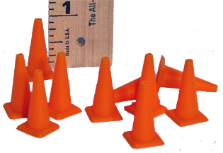 HR 701 Safety cones, 1/32 or 1/24 scale, pk. of 10 - $5.99