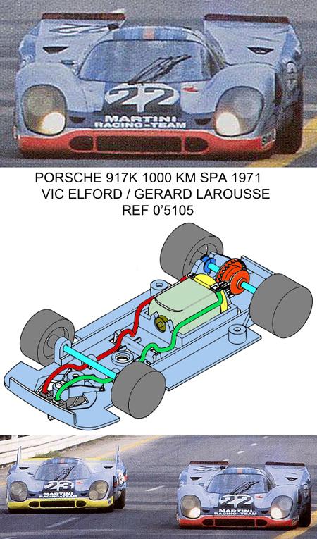 Fly 005105 Porsche 917 Martini #22, Spa 1971