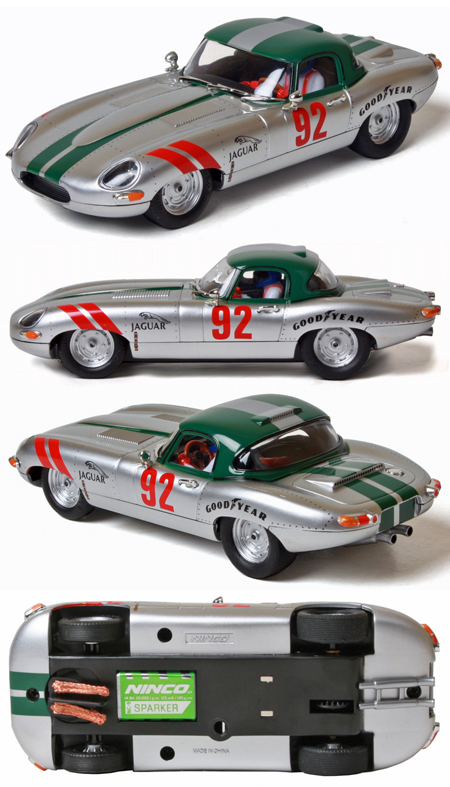 Ninco 50611 Jaguar E-type (XKE) roadster, #92 silver/green