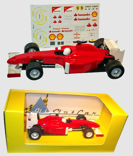 Allslotcar GP057 Formula 1 car, red with Ferrari decal sheet