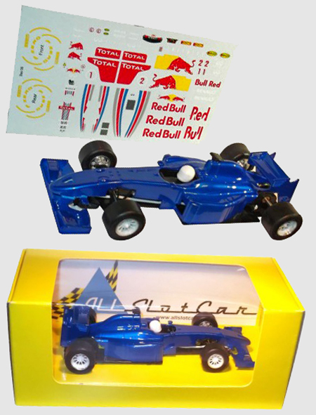 Allslotcar GP058 Formula 1 car, blue, with Red Bull decal sheet