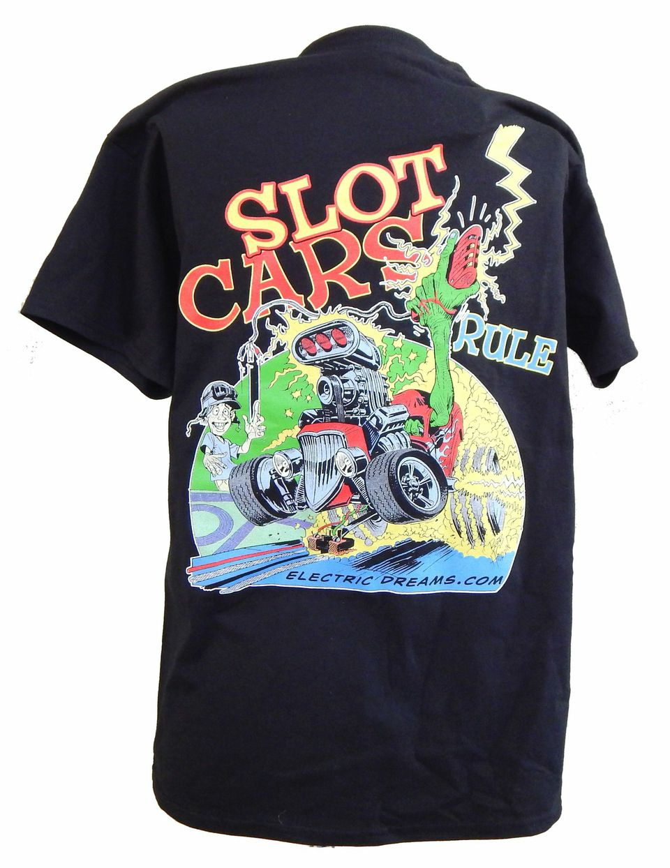 "ETS-1 T-shirt ""Slot Cars Rule"" by Bob Hardin, black, with 4-color art Work---size S"