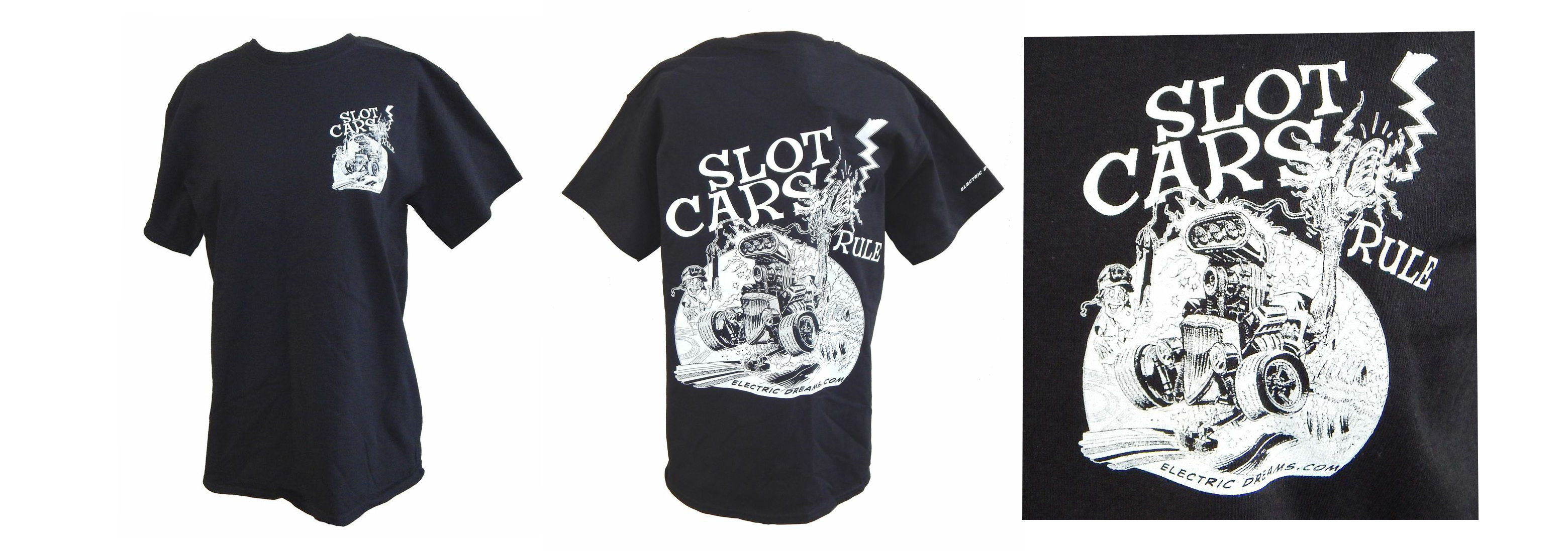 "ETS-15 T-shirt ""Slot Cars Rule"" by Bob Hardin, black, with white art work---size L"