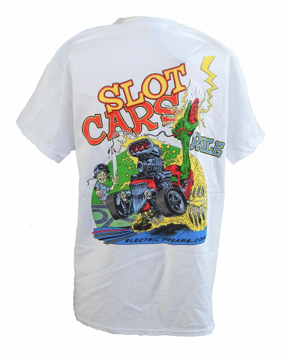 "ETS-7 T-shirt ""Slot Cars Rule"" by Bob Hardin, white, with 4-color art work---Size S"