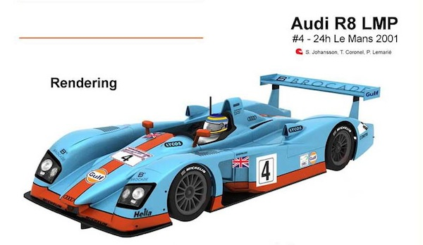 Slot It SICA33b Audi R8 LMP – #4 – 24h Le Mans 2001 'Gulf'—PRE-ORDER NOW!