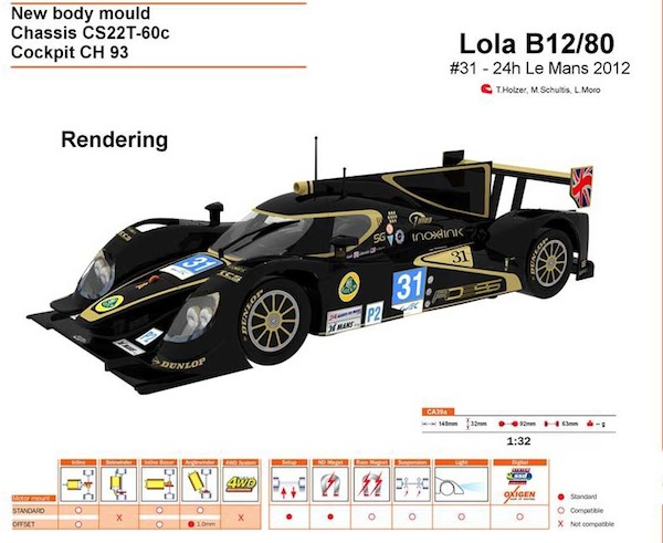 Slot It SICA39a Lola B12/80 – #31 – 24h Le Mans 2012—PRE-ORDER NOW!