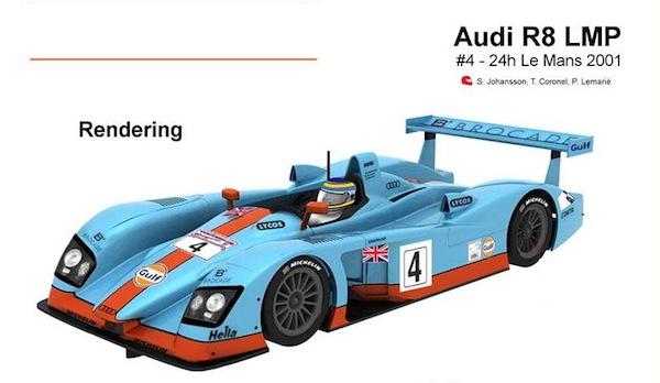 Slot It SICA33b Audi R8 LMP – #4 – 24h Le Mans 2001 'Gulf'
