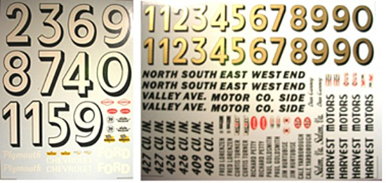 DEC342 Decals For Cox 1/24 Gurney Ford Stock Car And Others