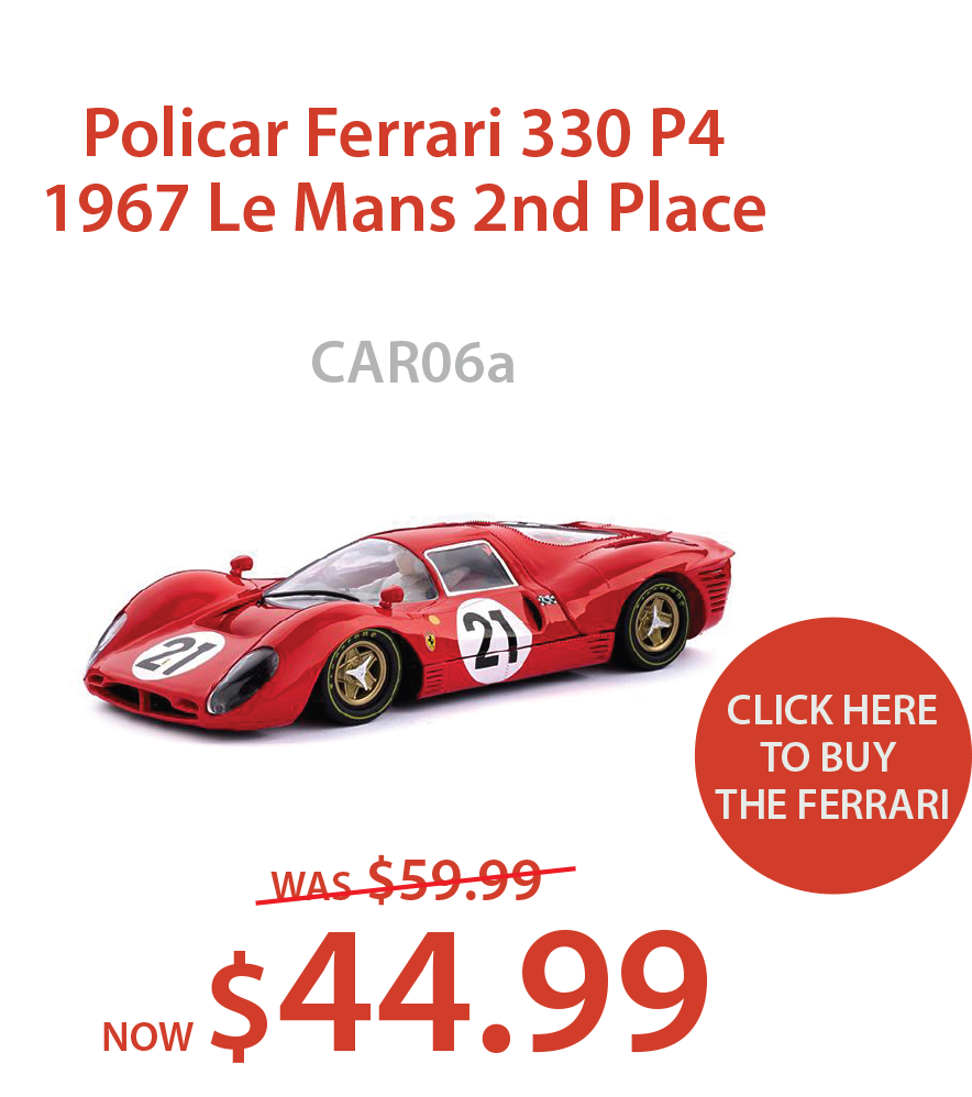 CAR06a Policar Ferrari 330 1967 P4 Le Mans 2nd Place - $44.99.